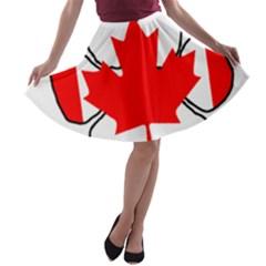 Mega Paw Canadian Flag A-line Skater Skirt