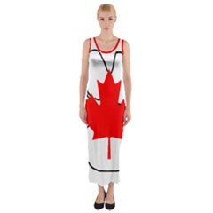 Mega Paw Canadian Flag Fitted Maxi Dress