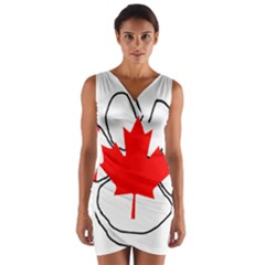 Mega Paw Canadian Flag Wrap Front Bodycon Dress