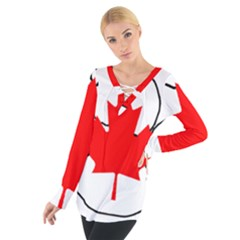 Mega Paw Canadian Flag Women s Tie Up Tee