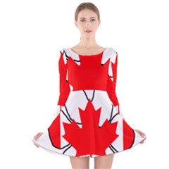 Mega Paw Canadian Flag Long Sleeve Velvet Skater Dress