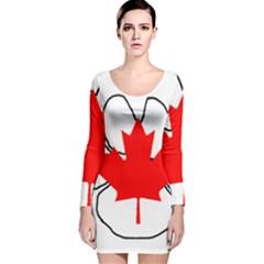 Mega Paw Canadian Flag Long Sleeve Velvet Bodycon Dress