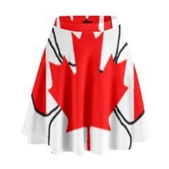 Mega Paw Canadian Flag High Waist Skirt
