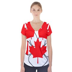 Mega Paw Canadian Flag Short Sleeve Front Detail Top