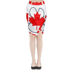 Mega Paw Canadian Flag Midi Wrap Pencil Skirt