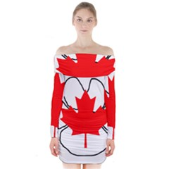 Mega Paw Canadian Flag Long Sleeve Off Shoulder Dress