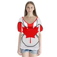 Mega Paw Canadian Flag Flutter Sleeve Top