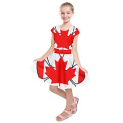 Mega Paw Canadian Flag Kids  Short Sleeve Dress