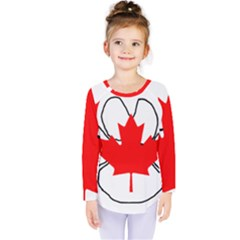 Mega Paw Canadian Flag Kids  Long Sleeve Tee
