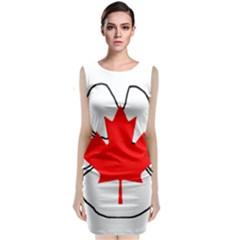 Mega Paw Canadian Flag Sleeveless Velvet Midi Dress