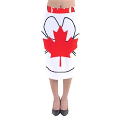 Mega Paw Canadian Flag Velvet Midi Pencil Skirt