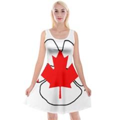Mega Paw Canadian Flag Reversible Velvet Sleeveless Dress