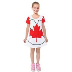 Mega Paw Canadian Flag Kids  Short Sleeve Velvet Dress