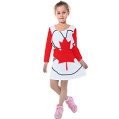 Mega Paw Canadian Flag Kids  Long Sleeve Velvet Dress