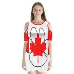 Mega Paw Canadian Flag Shoulder Cutout Velvet  One Piece