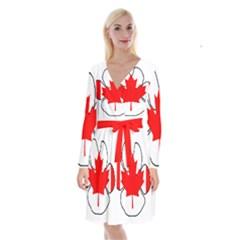 Mega Paw Canadian Flag Long Sleeve Velvet Front Wrap Dress