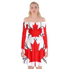 Mega Paw Canadian Flag Off Shoulder Skater Dress