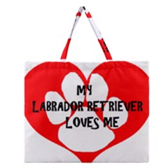 My Lab Loves Me Zipper Large Tote Bag