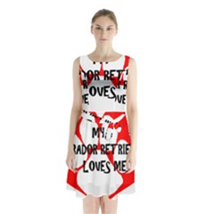 My Lab Loves Me Sleeveless Waist Tie Chiffon Dress