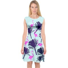 Flamingo Capsleeve Midi Dress