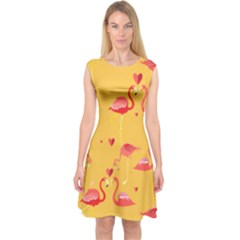 Flamingo Capsleeve Midi Dress
