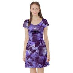 Purple Paint Strokes Short Sleeve Skater Dress