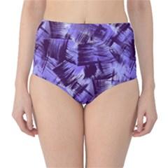 Purple Paint Strokes High-Waist Bikini Bottoms