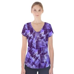 Purple Paint Strokes Short Sleeve Front Detail Top