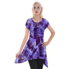 Purple Paint Strokes Short Sleeve Side Drop Tunic