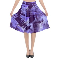 Purple Paint Strokes Flared Midi Skirt
