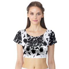 Black roses and ravens  Short Sleeve Crop Top (Tight Fit)