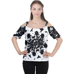 Black roses and ravens  Women s Cutout Shoulder Tee