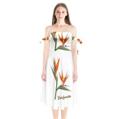 Bird Of Paradise Shoulder Tie Bardot Midi Dress