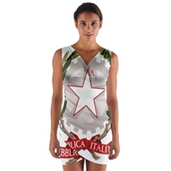 Emblem of Italy Wrap Front Bodycon Dress