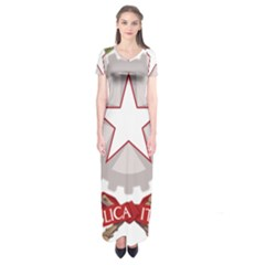 Emblem of Italy Short Sleeve Maxi Dress