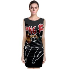 Kung Fu  Sleeveless Velvet Midi Dress