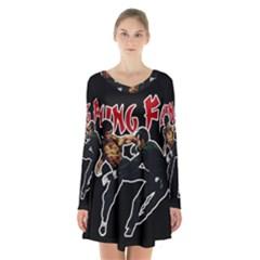 Kung Fu  Long Sleeve Velvet V-neck Dress