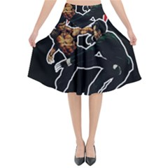 Kung Fu  Flared Midi Skirt