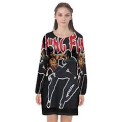 Kung Fu  Long Sleeve Chiffon Shift Dress