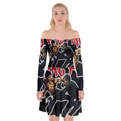 Kung Fu  Off Shoulder Skater Dress