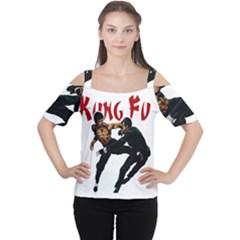 Kung Fu  Women s Cutout Shoulder Tee