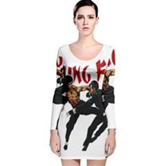 Kung Fu  Long Sleeve Velvet Bodycon Dress