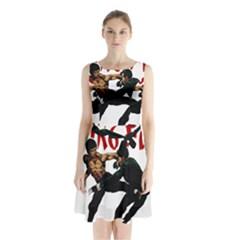 Kung Fu  Sleeveless Waist Tie Chiffon Dress