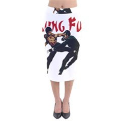 Kung Fu  Velvet Midi Pencil Skirt