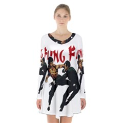 Kung Fu  Long Sleeve Velvet V-neck Dress