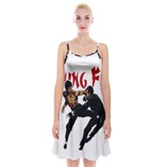 Kung Fu  Spaghetti Strap Velvet Dress