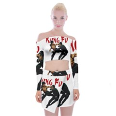 Kung Fu  Off Shoulder Top with Skirt Set