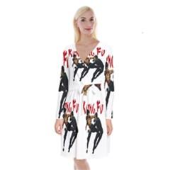 Kung Fu  Long Sleeve Velvet Front Wrap Dress