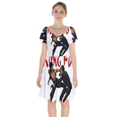 Kung Fu  Short Sleeve Bardot Dress