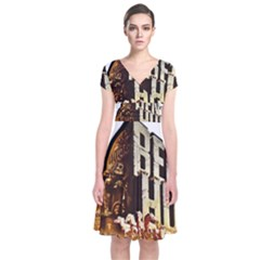 Ben Hur Short Sleeve Front Wrap Dress